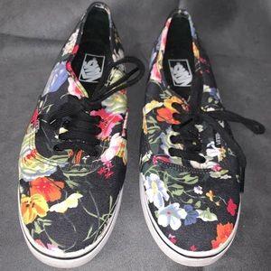 Vans low top dark floral sneakers 10